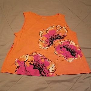 NWOT XL White Stag orange floral tank top